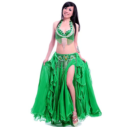 ROYAL SMEELA Belly Dance Costume Set for Women Belly Dance Bra and Belt Chiffon Dancing Skirts Professional Outfit 3pcs Green