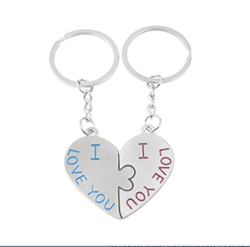 Fashion Couple Key Chain 1 Pair Promotional I LOVE YOU Heart Couple Keychains for the Keys Lover Valentine's Day Gift ()