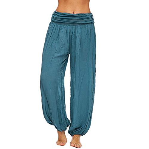CCatyam Plus Size Harem Pants for Women, Wide Leg Yoga Pocket Trousers Solid Loose Fashion Blue