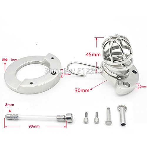 Hetam 2017 NEW Male Chastity Device Adult Cock Cage With Urethral Catheter BDSM Sex Toys Stainless Steel Chastity Belt by Hetam