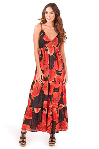 Maxi Vestido floral de algodón para Dama Pistachio con Tirantes Rojo amapola
