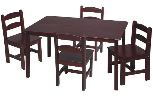 (Gift Mark Rectangle Table Set with 4 Chairs, Cherry)