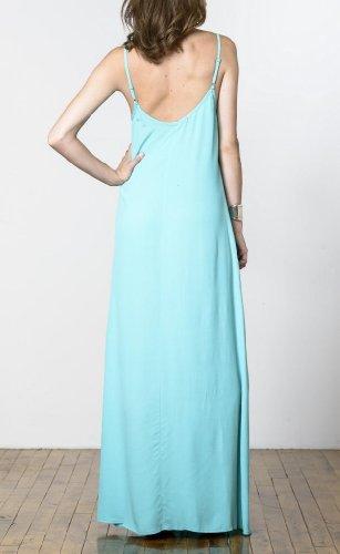 Robe Maxi Féminin Étiquette Blaque Avec Aqua Fente Centrale Avant