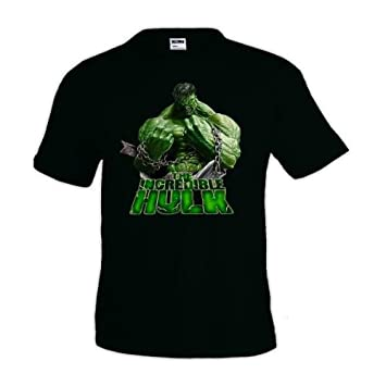 Aprox 50cm//69cm Camiseta Hulk Cadenas Talla: Talla S Unisex Ancho//Largo , Color: Negro