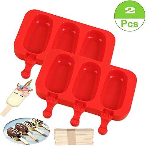SAKOLLA Homemade Popsicle Silicone Molds with Lid,BPA Free Ice Cream Bar Mold,3 Cavities Silicone Ice Pop Mold with 40 Wooden Sticks,Set of 2 (Oval) (Chocolate Cakes Ice Cream)