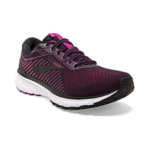 Brooks Womens Ghost 12 Running Shoe - Black/Hollyhock/Pink - D - 9.5