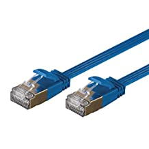 Monoprice SlimRun Cat6A Ethernet Patch Cable - Network Internet Cord - RJ45, Flat, Stranded, STP, Pure Bare Copper Wire, 36AWG, 5ft, Blue