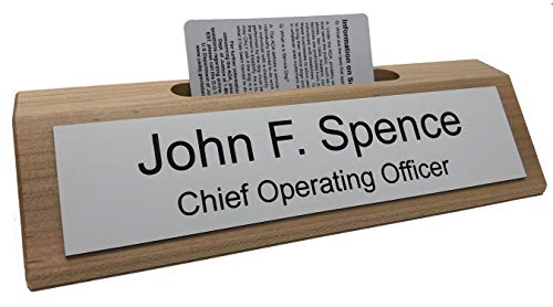 Personalized Business Desk Name Plate with Card Holder - Made in America (Maple w/White - Black Text)