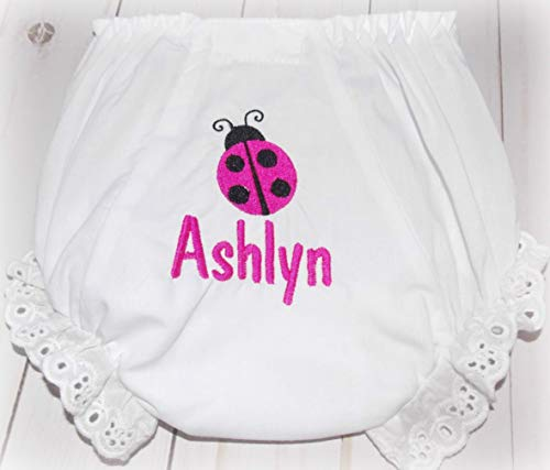 Ladybug Bloomers - Personalized Embroider Baby Girl Bloomers Diaper Cover Ladybug