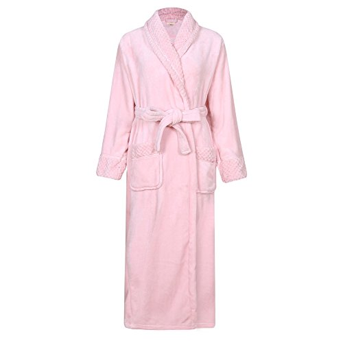 -  Richie House Women's Plush Soft Warm Fleece Bathrobe RH1591-H-L-FBA, Pink, Large