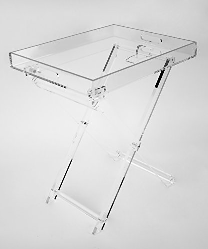 Acrylic Folding Tray Table - Modern Chic Accent Desk - Kitchen and Bar Serving Table - Elegant Clear Design With Silver Rim - by Designstyles