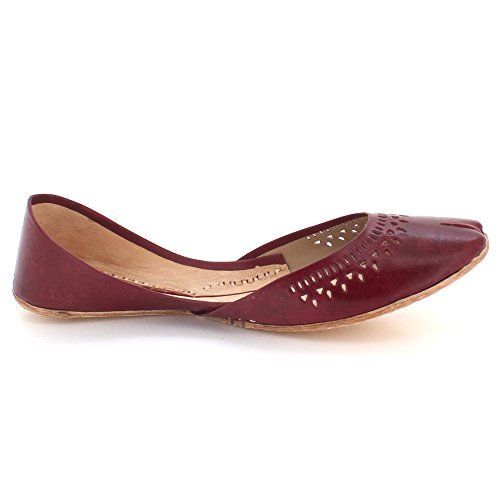 AARZ LONDON Women Ladies Traditional Ethnic Bridal Handmade Leather Flat Khussa Jutti Mojari Indian Pumps Slip On Shoes Size Maroon 1Oi2GOfzt