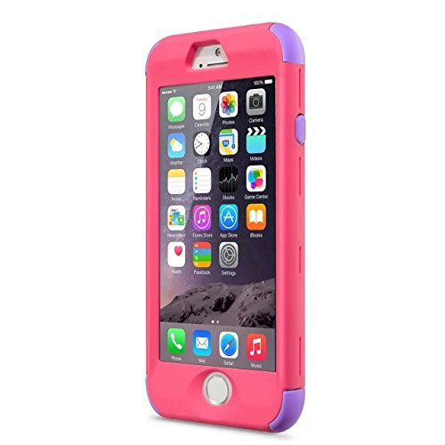 iPhone 6 Cas, iPhone 6S Case, Lantier Slick [Angel Eyes Series] hybride Durable 3 en 1 PC + silicone souple Design Adhésif pour pare Slim Hard Cover affaire pour Apple iPhone 6 / 6S Violet + bleu ciel