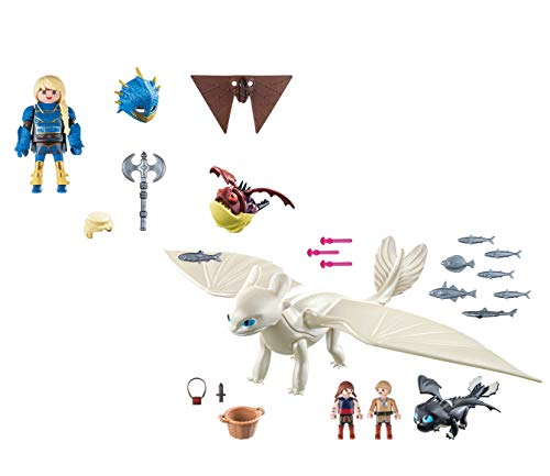 Playmobil Light Fury with Baby Dragon and Children and Astrid with - Light Playmobil