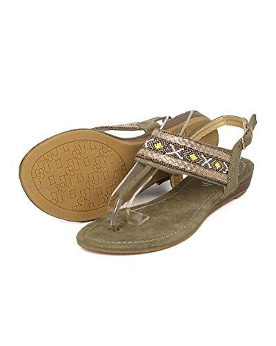 Alrisco Femmes Perlées Tribal Sandale - Sandale T-strap - Sandale Micro Coin - Sandale Slingback - Gi43 Par Khaki Mix Media