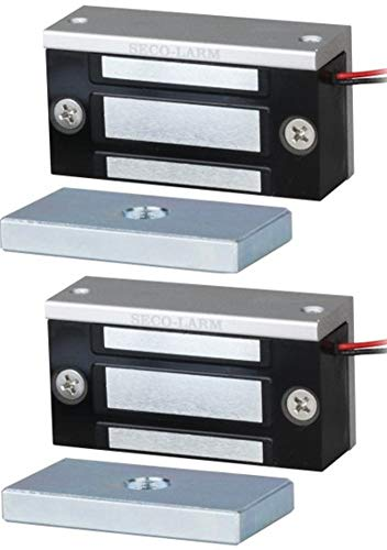 Seco-Larm E-941SA-80Q Single Door Mini Maglock (2 Pack), 80~110-lb (36~51kg) Holding Force, No Residual Magnetism, Detachable Mounting Bracket, MOV Surge Protection, 12~24VDC