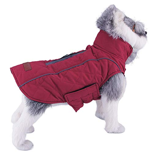 ThinkPet Warm Reversible Dog Coat - Thick Padded Comfortable Cotton Winter Dog Jacket, Reflective Safey Dog Vest M Red (Winter Coat For Medium Dogs)