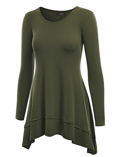 Made By Johnny WT1178 Womens Long Sleeve Double Layer Tunic Top S Olive (Double Tunic Layer)