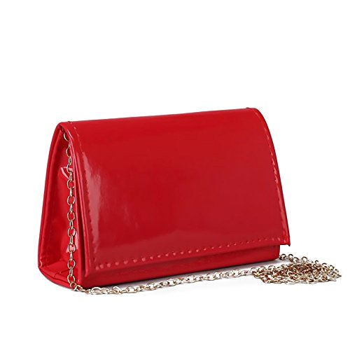 Ladies Classic Elegant Red Vegan Faux Leather Bag Purse with Chain Strap Clutch (Red) by Red Cube