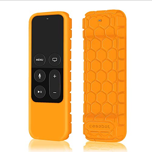 Fintie Protective Case for Apple TV 4K 5th, 4th Gen Remote - Casebot (Honey Comb Series) Lightweight (Anti Slip) Shock Proof Silicone Cover for Apple TV Siri Remote Controller, Orange