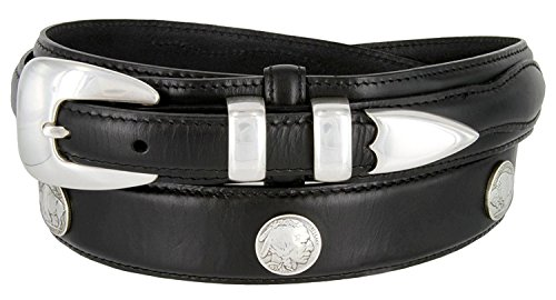 Buffalo Nickel & Indian Nickel Concho Oil Tanned Leather Ranger Belt (Black, 40) ()