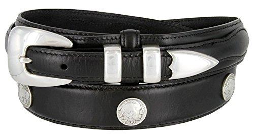 (Buffalo Nickel & Indian Nickel Concho Oil Tanned Leather Ranger Belt (Black, 40))