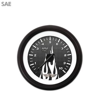 Aurora Instruments 4348 Carbon Fiber White Flame Tachometer Gauge with Emblem Black Modern Needles, Black Trim Rings, Style Kit DIY Install