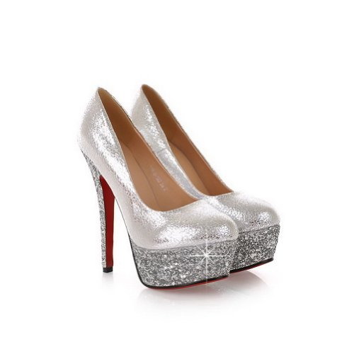 VogueZone009 Womans Closed Round Toe High Heel Spikes Stilettos Patent Leather Solid Pumps with Platform, Silver, 4.5 UK