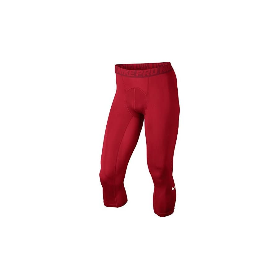 Nike Mens Pro Cool 3/4 Compression Tights (Small, UNIVERSITY RED/GYM RED/WHITE)