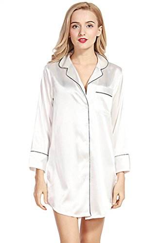 Asherbaby Women's Satin Long Sleeve Nightshirt Button Down Sleep Shirt Nightgown White US XS=Tag (Womens Satin Nightshirts)