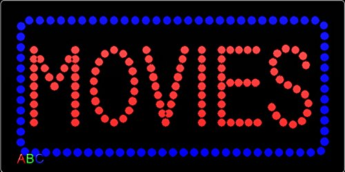 12''x24'' Movies LED Sign with Border w/Flashing Controller by ABC