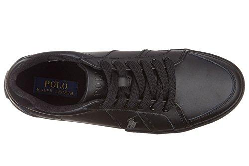 Polo Ralph Lauren chaussures baskets sneakers homme en cuir hugh noir