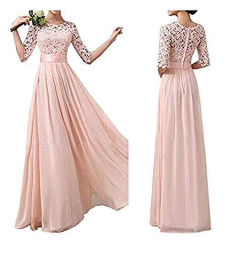 Jessica CC Women' s Crochet Lace A-line Wedding Bridesmaid Maxi Chiffon Dress Formal Gown (Gowns Formal Vintage)