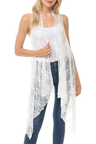 (BASICO Women's Open Asymmetrical Hem Print Chiffon Vest Cardigan (One Size, Flowery Lace- Beige))