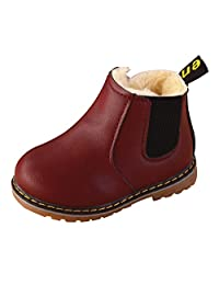 Baby Boys Winter Martin Snow Boots Toddler Warm Short Anti Slip Ankle Boot Rubber Sole First Walkers Wine Red with Zipper Size 6 M