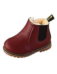 Boy's Autumn Winter Comfort Boots Waterproof Zipper Ankle Martin Boots Warm Plush Inside Wine Red Size 5.5 M