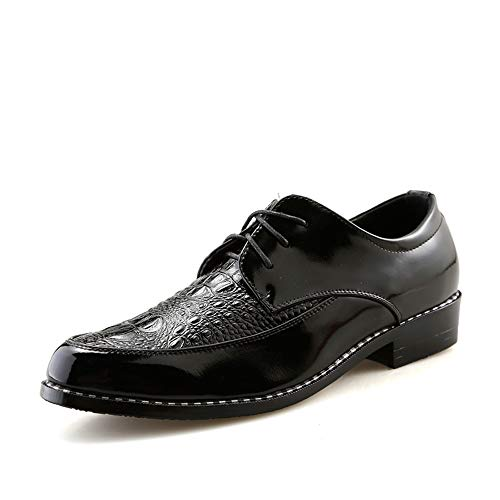 Xiaojuan-shoes, Scarpe da lavoro in pelle verniciata di coccodrillo da uomo Oxford Business Casual da uomo,Scarpe Uomo Pelle (Color : Nero, Dimensione : 38 EU) Nero