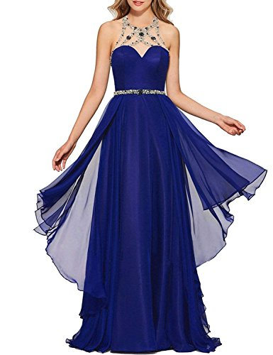 Blue BessWedding Formal BPS192 Prom Evening Dress Long Women's Royal Neckline Halter Beaded Gown Chiffon fwqOxfH