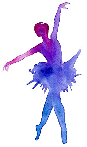 Divine Designs Pink Purple Watercolor Silhouette Ballerina on Pointe Vinyl Decal Sticker (4