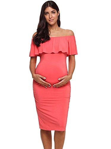 Jezero Women's Ruffle Off Shoulder Maternity Dress Sleeveless Ruched Sides Knee Length Bodycon Dress,Tangerinebr,Medium