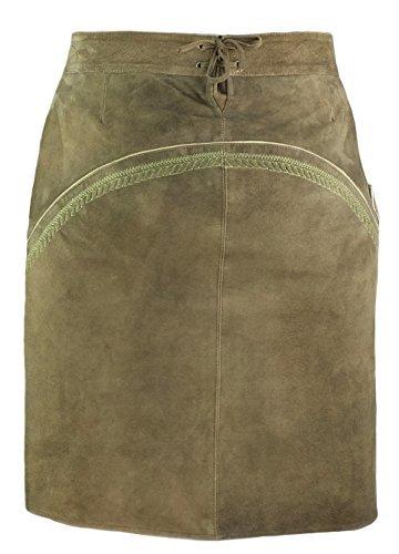 """Trachtenrock von Trachtenamazonen aus feinstem Leder, Modell """"Tegernsee - long"""" aus der Couture-Line in oliv-farbigem Ziegenveloursleder mit salbeigrüner Bestickung"""