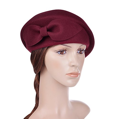 VBIGER Women's Beret Beanie Warm Wool Cap Hat (Wine (Wool French Beret)