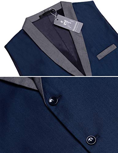 Daupanzees Mens Business Suit Vest Slim Fit 3 Pockets 3 Buttons V-Neck Wedding Sleeveless Button Down Waistcoat (Navy Blue L) by Daupanzees (Image #3)