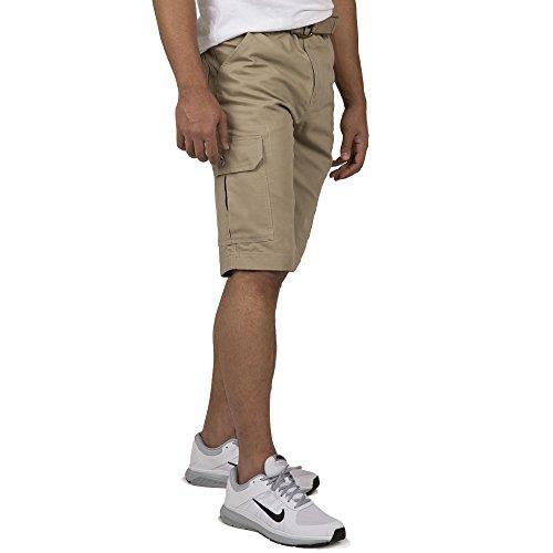 Vibes Gold Label Men Dark Khaki Twill Fashion Cargo Belted (Canvas Drawstring Shorts)