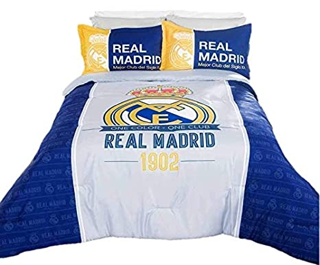 Amazon.com: Real Madrid Champions Comforter Set Queen: Home ...