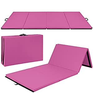 "4'x10'x2"" Gymnastics Gym Folding Exercise Aerobics Mats Black Stretching Yoga Mat Pink"
