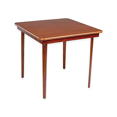 Straight Edge Hardwood Folding Card Table with Easy Steel Folding Mechanism in Warm Cherry Finish ()
