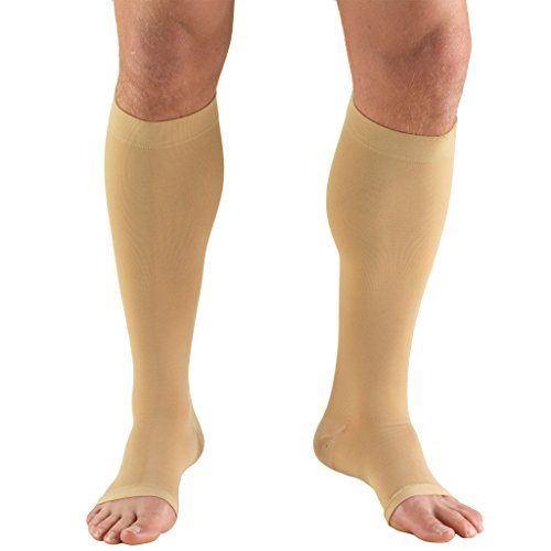 Truform 30-40 mmHg Compression Stockings for Men and Women, Knee High Length, Open Toe, Beige, Large