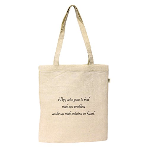 Hemp Simple Tote Sleeps W/ Sex Problem Wakes W/ Solution In Hand Style In Print by Style in Print