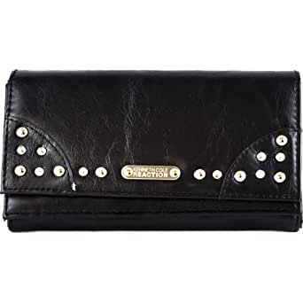 Kenneth Cole Reaction Womens Stud Clutch Wallet (Black)
